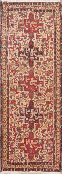 Hand-Woven Tribal Kilim Qashqai Persian Runner Rug Wool 4x12