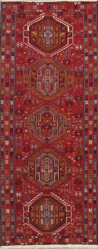 Hand-Woven Red Geometric Kilim Shiraz Persian Runner Rug Wool 5x12
