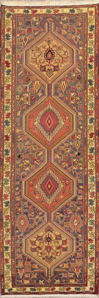 Hand-Woven Geometric Kilim Qashqai Persian Runner Rug Wool 4x11