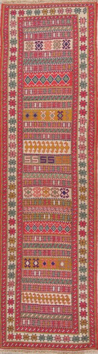 Hand-Woven Geometric Kilim Shiraz Persian Runner Rug Wool 3x10