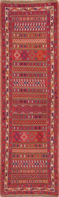 Hand-Woven Red Geometric Kilim Shiraz Persian Runner Rug Wool 3x9