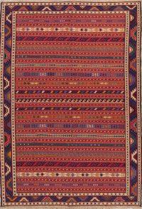 Hand-Woven Red Geometric Kilim Qashqai Persian Area Rug Wool 7x9