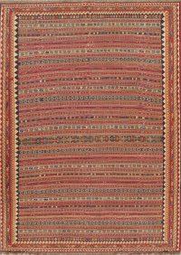 Hand-Woven Geometric Kilim Qashqai Persian Area Rug Wool 9x12