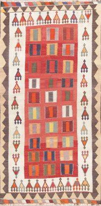 Hand-Woven Geometric Kilim Shiraz Persian Runner Rug Wool 4x9