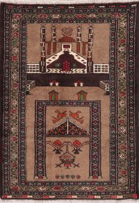 Hand-Knotted Brown Geometric Balouch Oriental Wool Rug 3x4