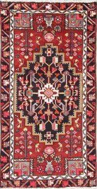 Hand-Knotted Red Geometric Hamedan Persian Runner Rug 2x5