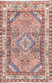 Hand-Knotted Pink Geometric Hamedan Persian Wool Rug 3x5