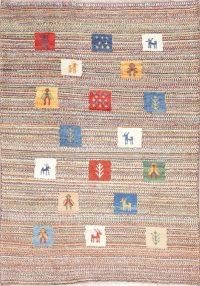 Hand-Knotted Tribal Gabbeh Shiraz Persian Wool Rug 3x5
