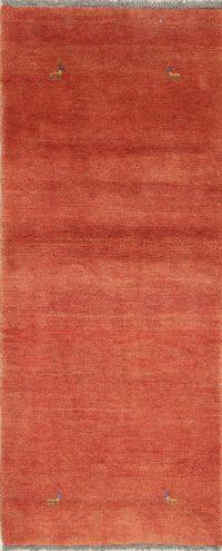 Hand-Knotted Orange Gabbeh Shiraz Persian Runner Wool Rug 3x7