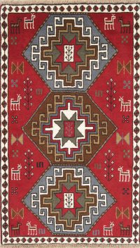 Hand-Knotted Red Geometric Ghoochan Persian Area Rug Wool 4x6