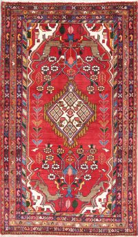 Hand-Knotted Red Pictorial Zanjan Persian Area Rug Wool 4x6