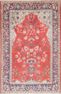 Hand-Knotted Red Floral Kashan Persian Area Rug Wool 4x7