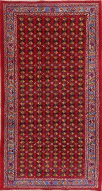 Hand-Knotted Red Geometric Bidjar Persian Area Rug Wool 4x7