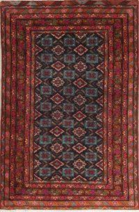 Hand-Knotted Navy Blue Geometric Bidjar Persian Area Rug Wool 5x7