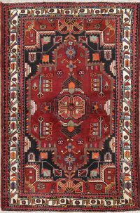 Hand-Knotted Red Geometric Malayer Hamedan Persian Area Rug Wool 4x6