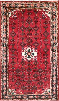 Hand-Knotted Red Geometric Hamedan Persian Runner Rug Wool 3x6
