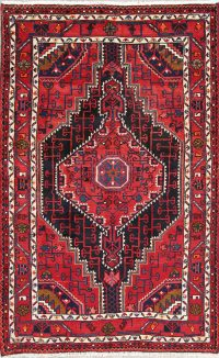 Hand-Knotted Geometric Hamedan Persian Area Rug Wool 4x6