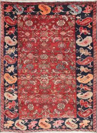 Hand-Knotted Red Geometric Heriz Persian Area Rug Wool 4x5