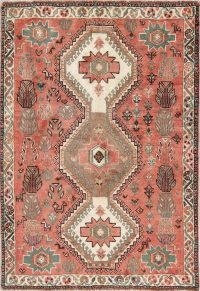 Hand-Knotted Red Geometric Shiraz Persian Area Rug Wool 4x5