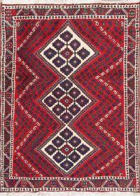 Hand-Knotted Red Geometric Bakhtiari Persian Rug Wool 3x4