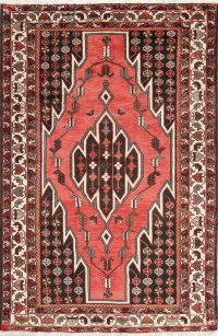 Hand-Knotted Geometric Hamedan Persian Area Rug Wool 5x7