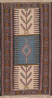 Hand-Woven Geometric Kilim Shiraz Persian Runner Rug Wool 3x6