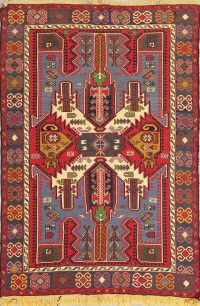 Hand-Woven Geometric Kilim Shiraz Persian Area Rug Wool 5x6