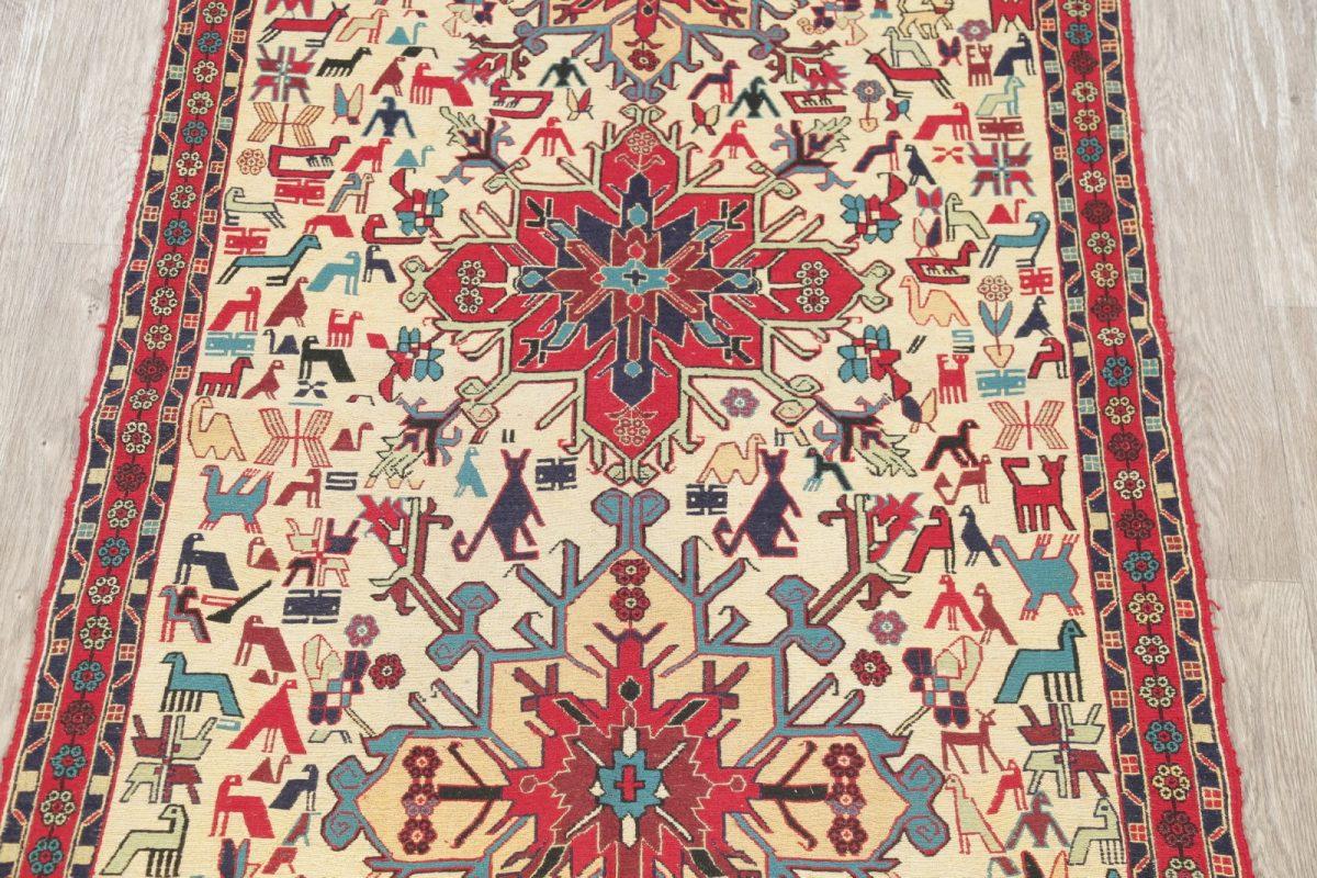 Hand-Woven Tribal Kilim Shiraz Persian Area Rug Wool 4x6