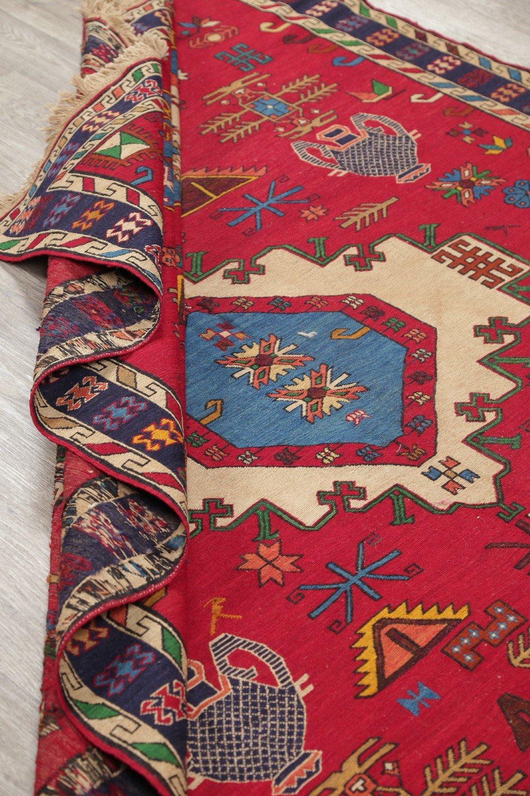 Hand-Woven Red Geometric Soumack Kilim Kazak Persian Area Rug Wool 7x10