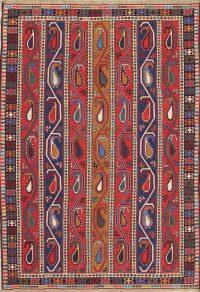 Hand-Woven Geometric Soumack Kilim Kazak Persian Area Rug Wool 7x9
