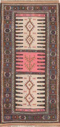 Hand-Woven Beige Geometric Kilim Shiraz Persian Runner Rug Wool 3x6