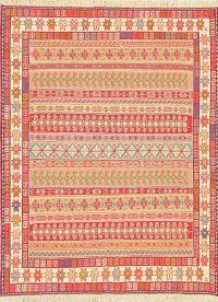Hand-Woven Geometric Sumak Kilim Shiraz Persian Area Rug Wool 4x5