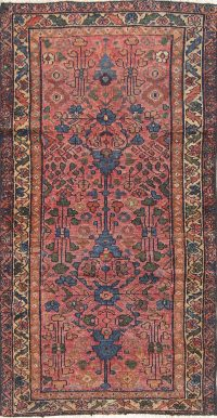 Antique Pre-1900 Floral Lilian Hamedan Persian Runner Rug Wool 2x5