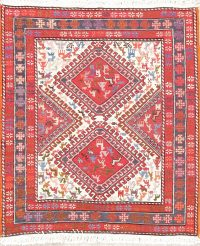 Hand-Woven Ivory Tribal Kilim Shiraz Persian Rug Square Wool/Silk 3x3