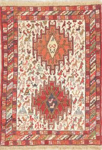 Hand-Woven Ivory Tribal Kilim Shiraz Persian Rug Wool/Silk 2x3