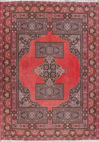 Geometric Red Oushak Turkish Oriental Area Rug Wool 9x13
