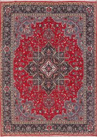 Geometric Red Heriz Turkish Oriental Area Rug Wool 9x13