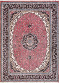 Floral Pink Kashan Turkish Oriental Area Rug Wool 9x13