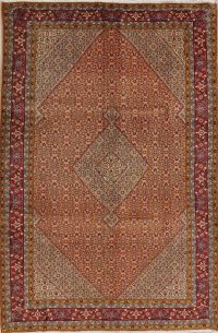 Hand-Knotted Rust Geometric Ardebil Persian Area Rug Wool 7x10