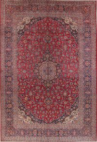Hand-Knotted Red Traditional Floral Kashan Persian Area Rug Wool 9x13