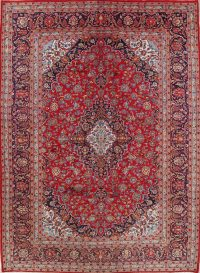 Floral Red Kashan Persian Hand-Knotted Area Rug Wool 8x11