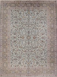 All-Over Floral Green Kashan Persian Hand-Knotted Area Rug Wool 10x13