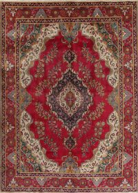 Floral Red Tabriz Persian Hand-Knotted Area Rug Wool 9x13