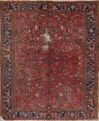 Hand-Knotted Red all-over Geometric Heriz Persian Area Rug Wool 8x9