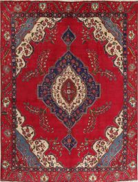 Floral Medallion Red Tabriz Persian Hand-Knotted Area Rug Wool 9X12