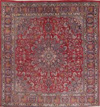 Floral Red Mashad Persian Hand-Knotted Square Rug Wool 10x10