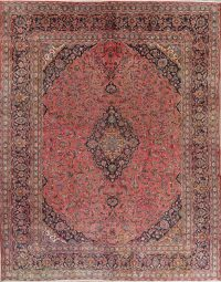 Floral Medallion Red Kashan Persian Hand-Knotted Area Rug Wool 9x12