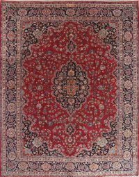 Floral Red Mashad Persian Hand-Knotted Area Rug Wool 10x12