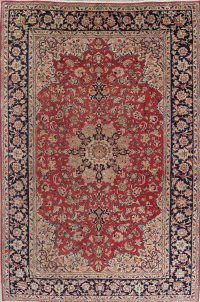 Floral Red Kashan Persian Hand-Knotted Area Rug Wool 7x11