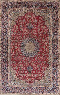 Floral Red Najafabad Isfahan Persian Hand-Knotted Area Rug Wool 9x14